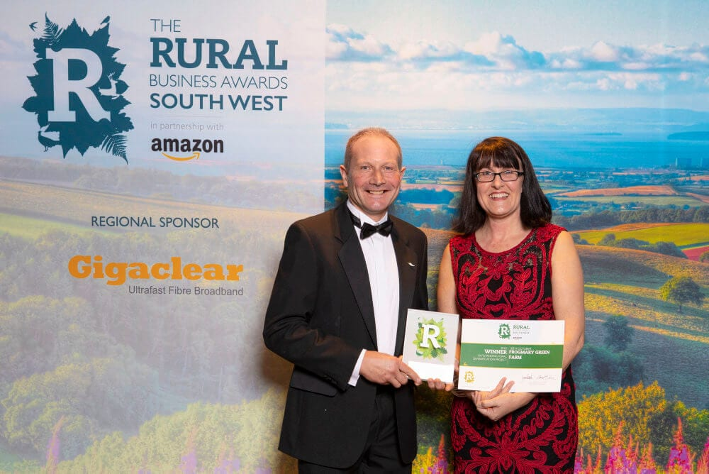 Nick and Claire Bragg of Frogmary Green Farm receiving Rural Business Award 2018
