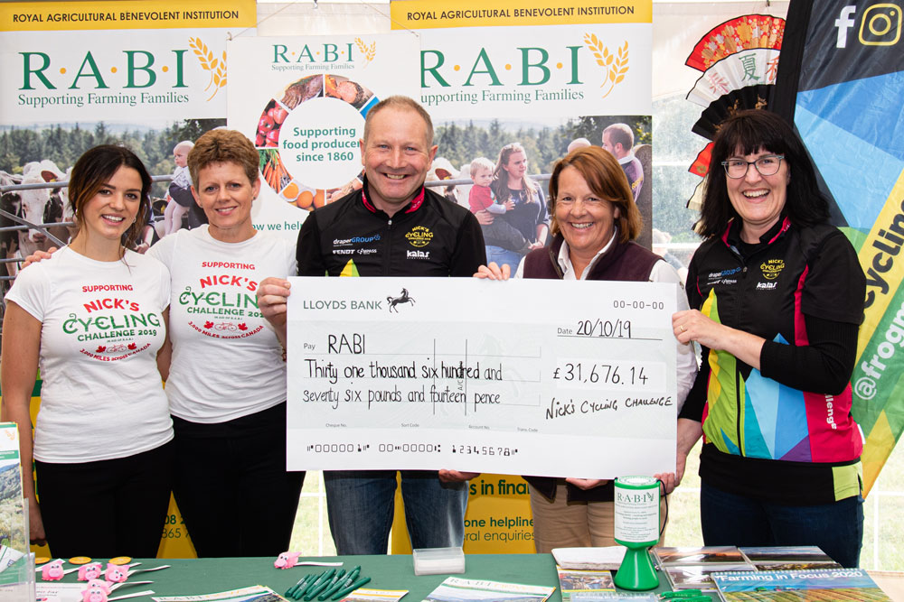 Nick's Cycling Challenge cheque presentation to the R.A.B.I